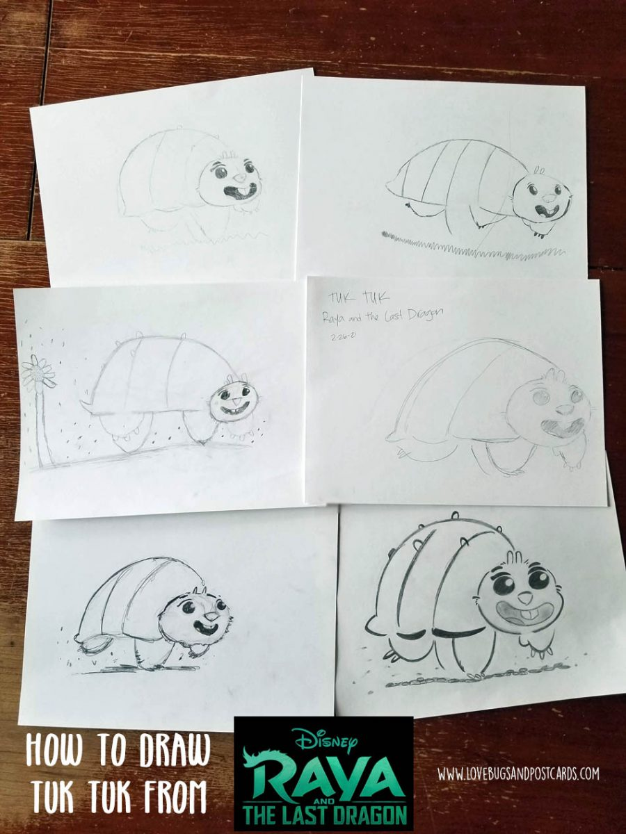 How to Draw Baby Tuk Tuk from Disney's Raya and the Last Dragon