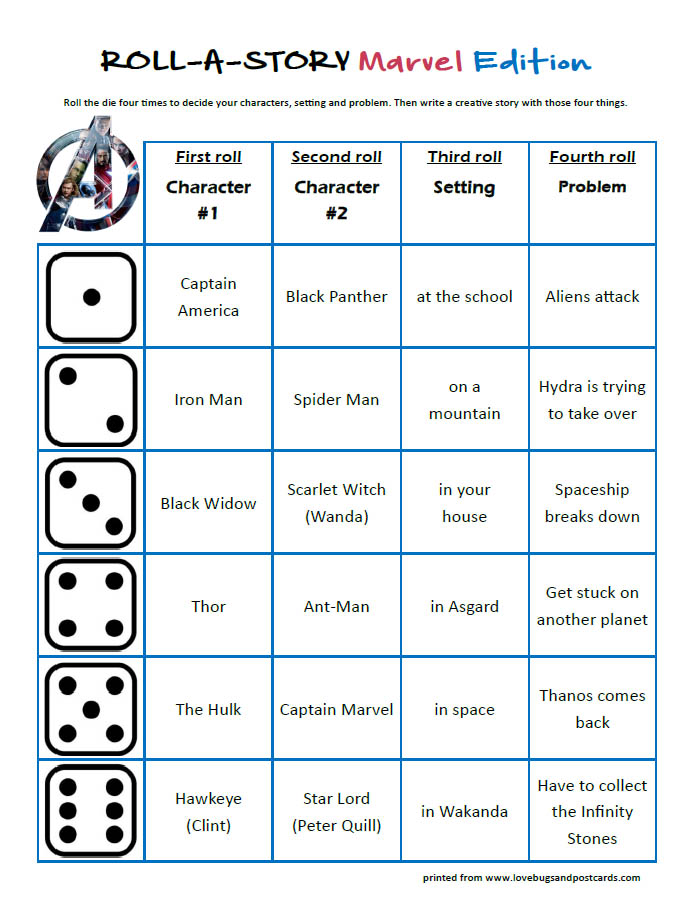 Marvel Roll-A-Story (free printable)