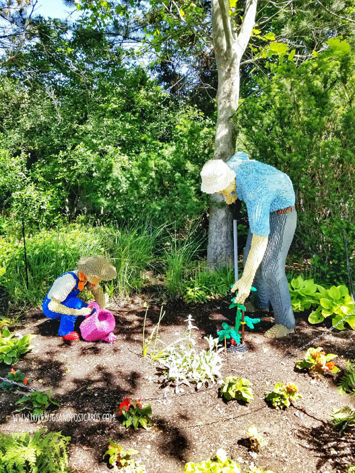 Sean Kenney's Nature Connects Made with LEGO® Bricks at Thanksgiving Point - Gardening Grandfather and Granddaughter
