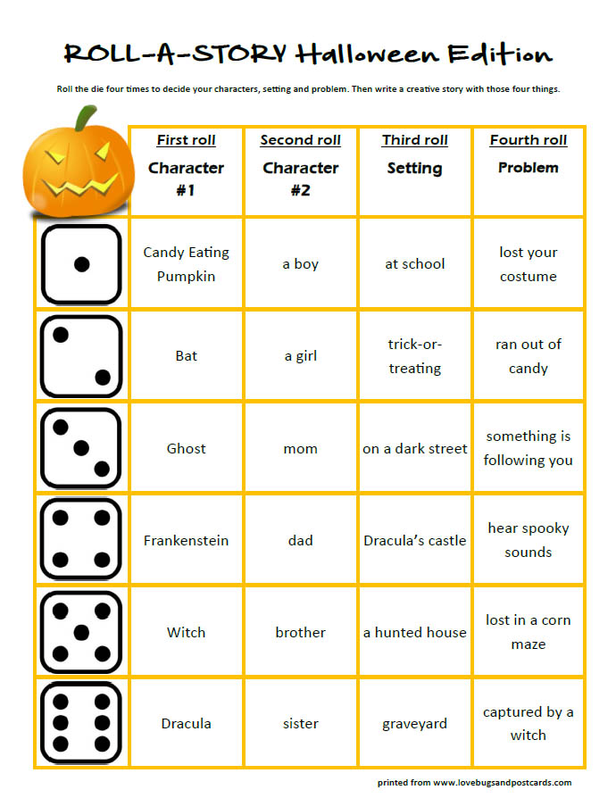 Halloween Roll-a-story (free printable)